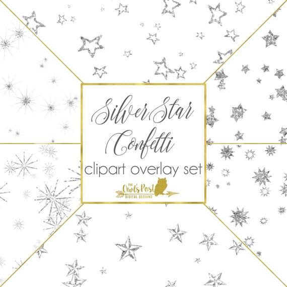 silver glitter star confetti digital star clipart stars
