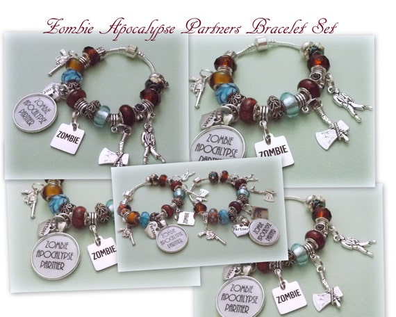Zombie Apocalypse Partner Charm Bracelets, Walking Dead Charm Bracelet, Gift for Best Friends, Zombie Bracelets, The Walking Dead, Gift Idea