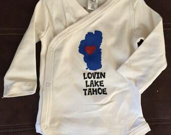 Kimono style Baby Onesie - Organic Cotton - Lake Tahoe w/ Heart