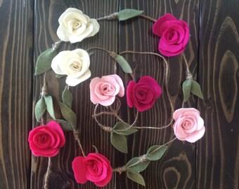 Pink Rosette Felt Garland