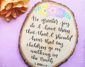 Scripture on Wood Round / Customizable