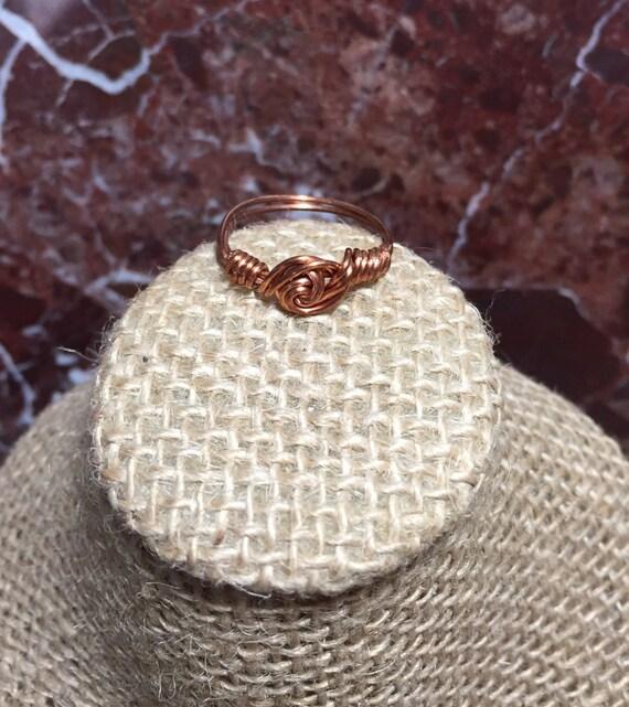 Copper rosetta ring, arthritic copper ring, wired wrap copper rosetta ring, copper wire ring, handmade copper wire ring, copper rose ring