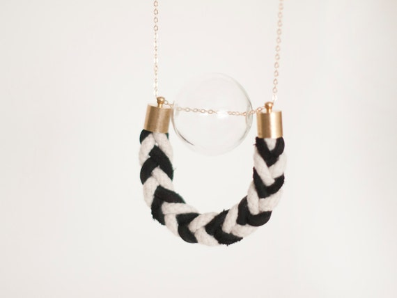 ANR Glass Globe #2 // hand blown glass bead and leather braided, cotton braid, black and white pendant, braided, gold plated brass chain