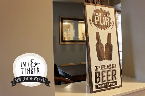 Home Bar Sign - CUSTOM COLORS and Name - Free Beer Tomorrow