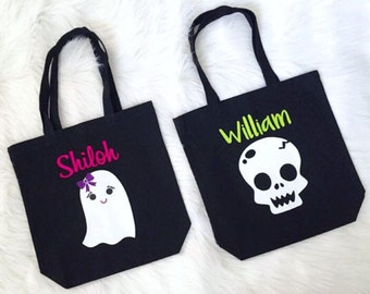 Kid's Personalized Trick or Treat Bag / Personalized Halloween Bag / Halloween Tote / Trick or Treat Bag