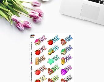 Small SCHOOL SET Planner Stickers CAM00221-2