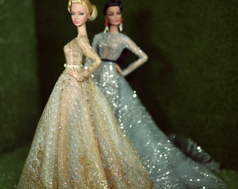 Golden Dress for fashion royalty , Poppy Parker, Silkstone Barbie, fr2 , 12'' Fashion Doll