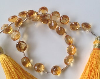 "Citrine Faceted Onion Briolettes - 7-8mm, 8"" Strand"