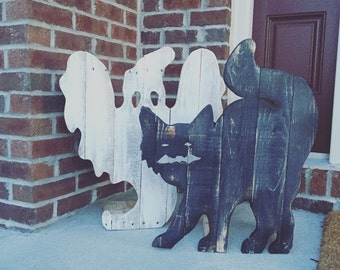 Reclaimed wood halloween ghost and scary cat.