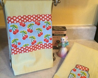 Cherries and Lime Striped Dish Towel
