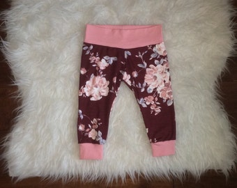 FLORAL LEGGINGS; burgundy and dusty rose baby leggings