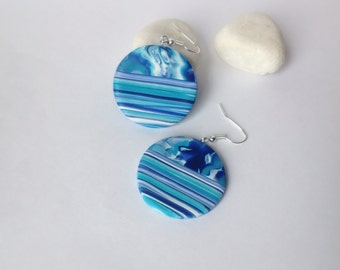 Polymer Clay Earrings, Everyday earrings , Dangle grop earrings, Earrings with stripes, Blue earrings, Round earrings, Modern jewelry
