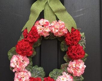 Valentine wreath ,spring  wreath ,spring decorative wreath ,red flowers  wreath , pink flowers  wreath