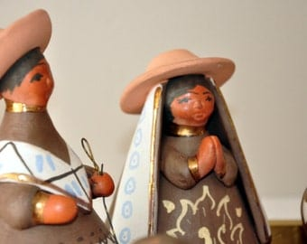 Vintage Nativity, Handmade Nativity, Unusual Nativity, Terracotta, handpainted, one-of-a-kind, great gift, heirloom
