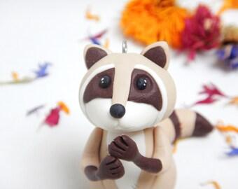 Handmade fimo raccoon-raccoon-pendant-decoration