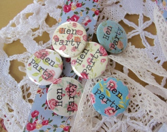 Hen Party Badges Handmade Ditsy Print - Floral - Pin Button Badge
