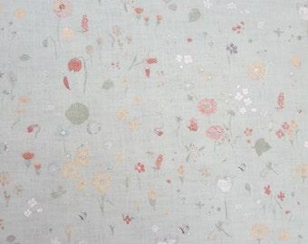 "Nani Iro: Brushed Cotton / Flannel Fabric ""Sen Ritsu"" Wild Flowers on Pale Beige - UK seller"