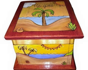 WOOD RECIPE BOX painted keepsake box