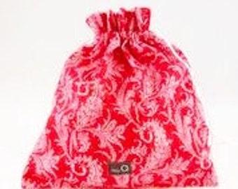 Della Q Large Cotton Pouch, Large Eden Pouch Red Della Q Eden Drawstring Bag Drawstring Gift Bag Della Q Eden Gift Bag Knitting Project Bag