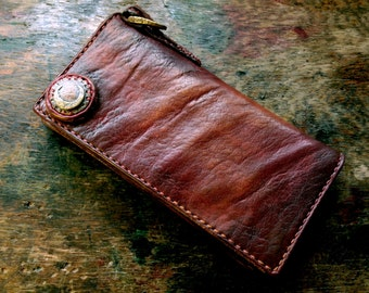"""Crescent Moon Wallet """"Patine and vintage processing"""""""