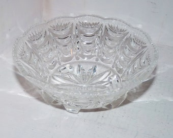 Clear Glass Round Bowl with Three Feet -  725