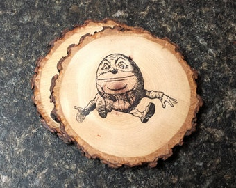 Humpty Dumpty Handcrafted Natural Wood Coaster Set of 2