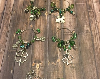 Luck of the Irish Green shamrock Wine Glass Markers