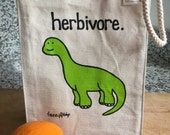 herbivore brontosaurus lunch bag - made of recycled cotton canvas