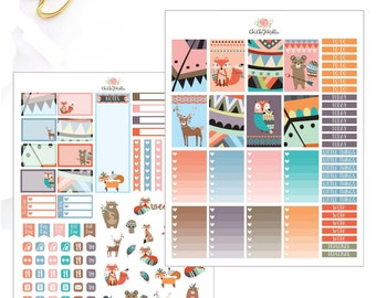 Printable Fall Animals Stickers For Erin Condren and  Happy Planner {INSTANT DOWNLOAD}