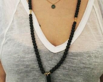 Beaded black tassel necklace