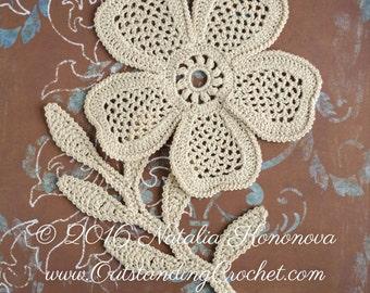 Crochet Applique Pattern - Irish Crochet Lace Flower and Leaf Motifs - Crochet Embellishment - Crochet Home Decor - PDF Pattern