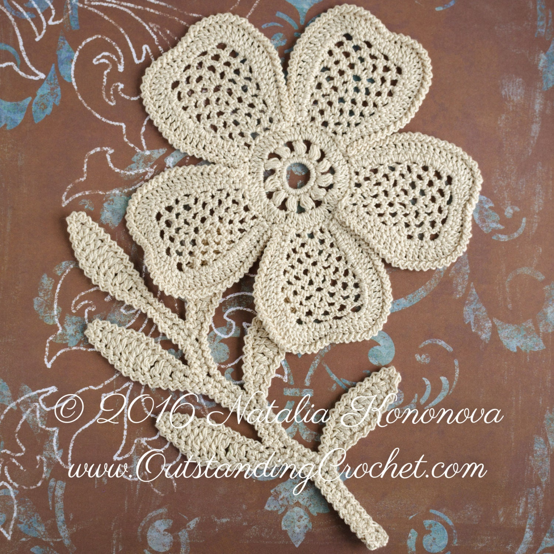 Irish crochet applique pattern poppy flower with fern leaf irish crochet applique pattern looming flower with leaf lace motifs crochet embellishment home decor pdf bankloansurffo Gallery