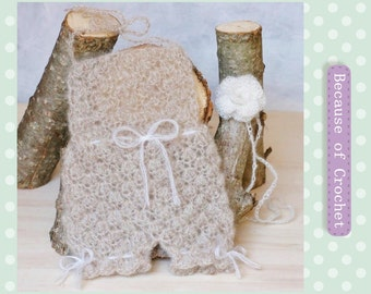 Handmade Crochet Newborn baby mohair Romper and Headband. Size 0-1 month. Ready to ship