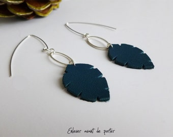 "Earrings Argent925 sheet leather ""A little leaf"""