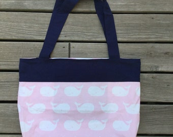Beach Bag, pool bag, tote, pockets, navy, nautical, whale, pink