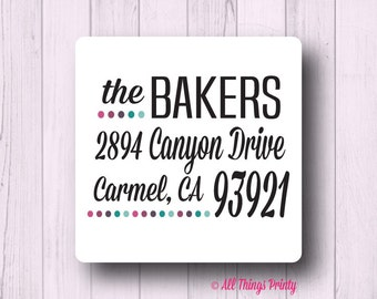 Square Address Labels - Custom Personalized Dot Mailing Labels - Matte White