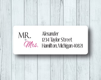 Mr. & Mrs. Custom Return Address Labels - Personalized Wedding and Marriage Stickers - Matte White or Clear Gloss