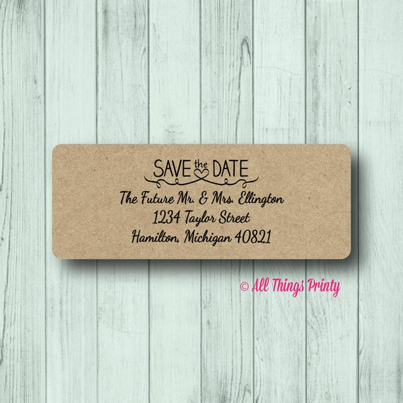 Save The Date Return Address Labels Personalized Wedding