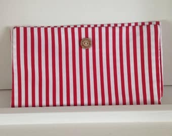Diaper clutch wipes clutch red stripe
