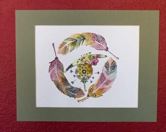 ORIGINAL Watercolor-Illustration Art-Lizard over dandelion with feathers watercolor illustration.
