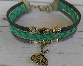 Custom Girl's Sports Bracelet// Tennis Bracelet// Teal and Gray// Tennis Mom// Tennis Gift// Choose Sports Team Colors & Charm