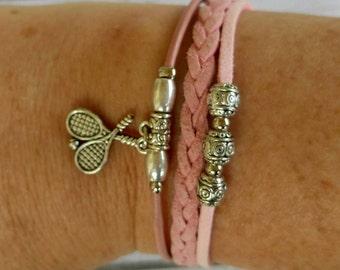 Tennis Bracelet// Team Colors// Tennis Mom// Tennis Coach// Tennis Gift// Custom Sports Bracelet for Girls// Choose Colors & Charm