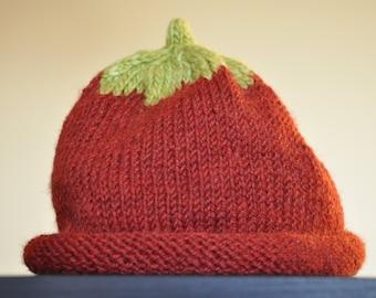 Girls Strawberry Merino Wool Hat