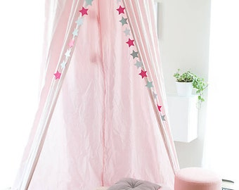Baldachin, canopy, teepee, playhouse, privacy, summer day, garden, pink, little princess