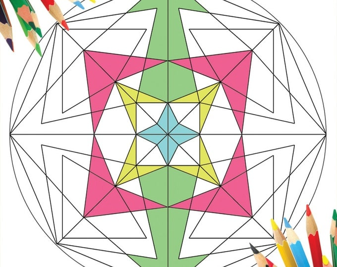 Geometric Designs Coloring, Mandala Geometric, Coloring Therapy, Digital Geometric Shapes, Instant Geometric Print, Mandala Art Coloring