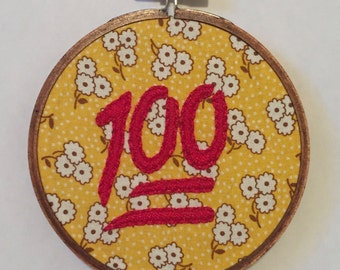 100 Emoji Embroidery Hoop Wall Art