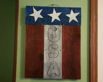 USA Americana red white and blue sign handcrafted