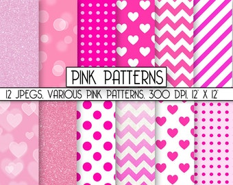 """Pink Digital Paper: """"Pink Scrapbook Paper"""" Various patterns and textures, INSTANT DOWNLOAD cute papers for graphics projects, item C135"""
