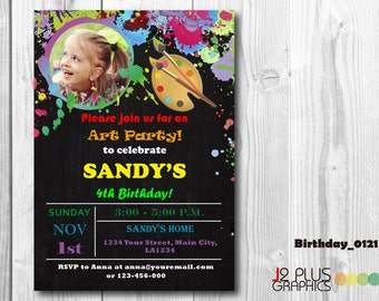 Photo Art Birthday Invitation Card, Art Photo Birthday Invitation with Photo, Paint Birthday Party Invitations, Painting Birthday Invites
