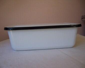 Vintage Enamelware White/Black Rectangular Covered Refrigerator Pan - EUC